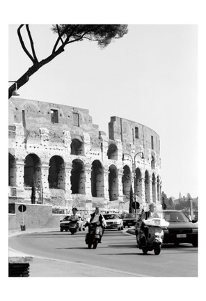 Framed Colessium With Moped Rome Print