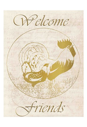 Framed Rooster Welcome Friends Print