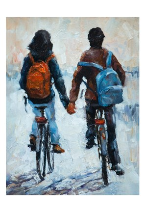 Framed ShenLi's Romance On Bikes Print