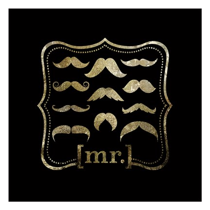 Framed Mustache Galore Print