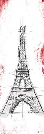 Framed Eiffel Red Pop Sketch Print