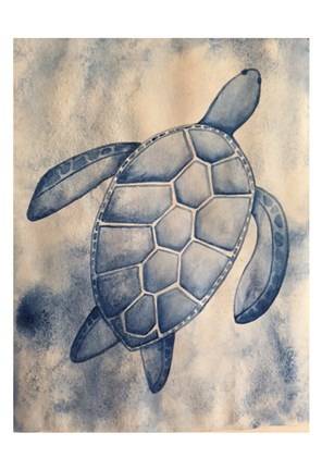 Framed Blue Sea Turtle Print