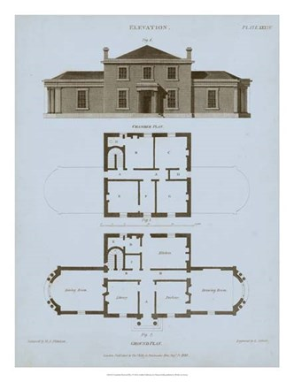 Framed Chambray House & Plan I Print