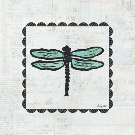 Framed Dragonfly Stamp Print