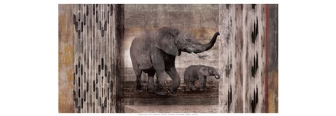 Framed Tribal Elephants Print
