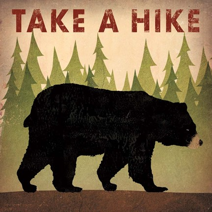 Framed Take a Hike Black Bear Print