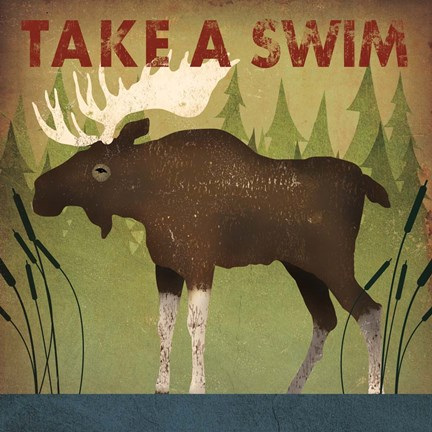 Framed Take a Swim Moose Print