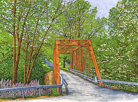 Framed Clarksburg - The Old Bridge In Spring Print