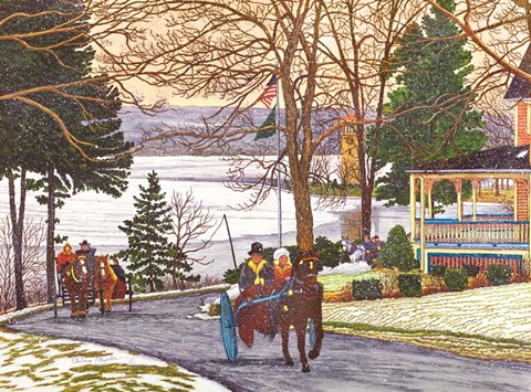 Framed Chautauqua - Currier And Ives Ride Print