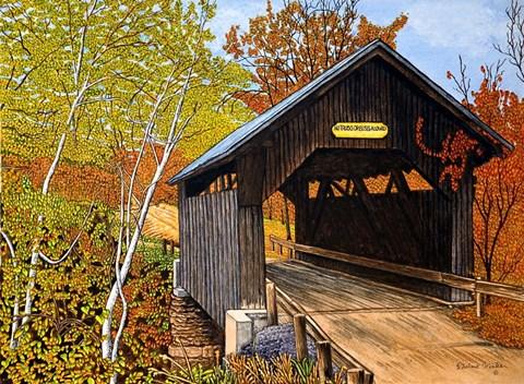 Covered Bridge Waterbury Vt Fine Art Print By Thelma