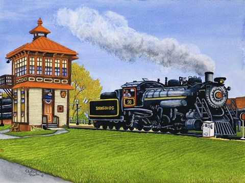 Framed Engine #90 At The Switch Tower, Strasburg Pa Print