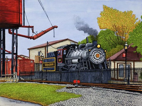 Framed Engine #90 At The Water Tower, Strasburg Pa Print