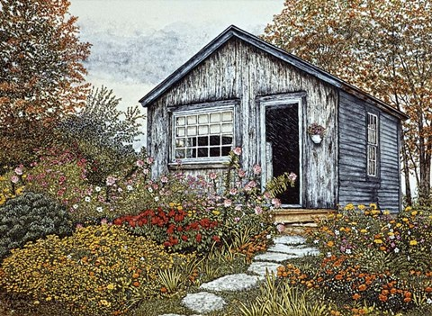 Framed Flower Shed I, Arlington Vt Print