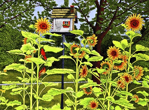 Framed Sunflowers And Birdhouse Print