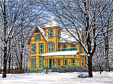 Framed Victorian Home In Winter, Hamburg, Ny Print
