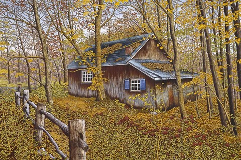 Cabin In The Woods Fine Art Print By Thelma Winter At