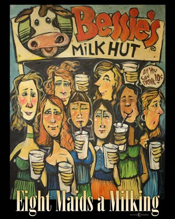Framed Eight Maids a Milking Print