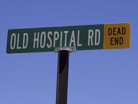 Framed Old Hospital Road Dead End Sign Print