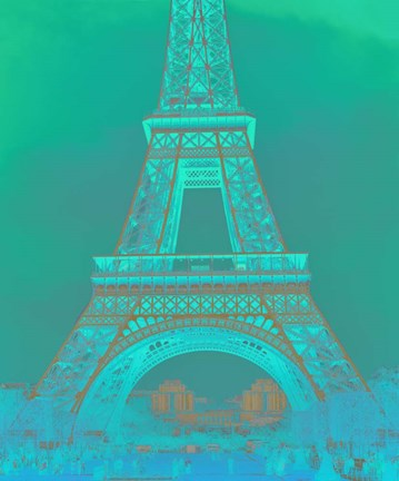 Framed Eiffel Tower in Turquoise Print