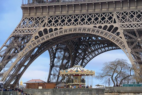 Framed Eiffel Tower with Marry-Go-Round Paris Print
