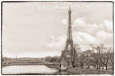 Framed Eiffel Tower, Seine and Pont Rouelle Print