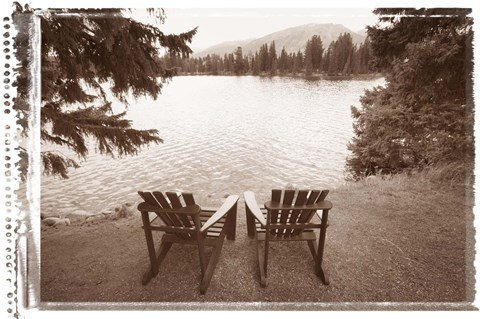 Framed Two Chairs at Waters Edge Print