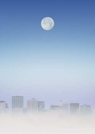 Framed Moon Over City Print