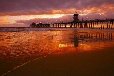 Framed Pier at Sunset Print