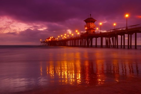 Framed Pier with Purple Sky Print