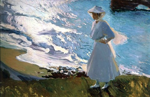 Framed Lady in White on Beach in Biarritz France Print