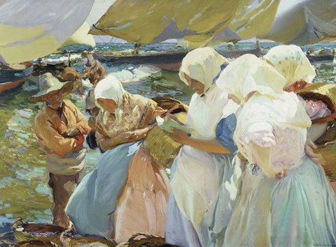 Framed Valencianas en la Playa (Women from Valencia on the beach), 1915 Print