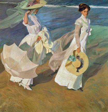 Framed Paseo a Orillas del Mar (Promende on the beach), 1909 Print