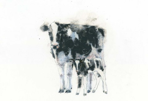 Framed Cow and Calf Print