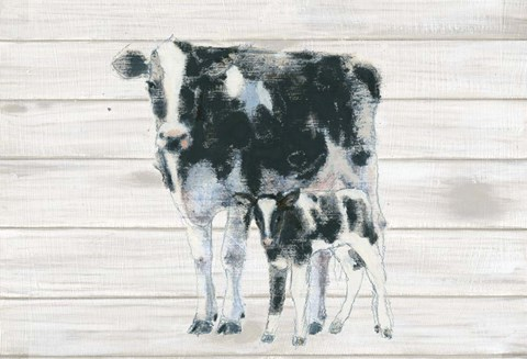 Framed Cow and Calf on Wood Print