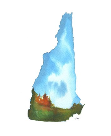Framed New Hampshire State Watercolor Print