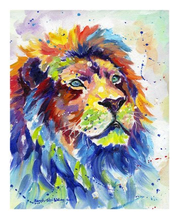 Framed Colorful African Lion Print