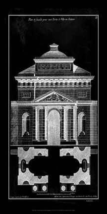 Framed Palace Facade Blueprint II Print