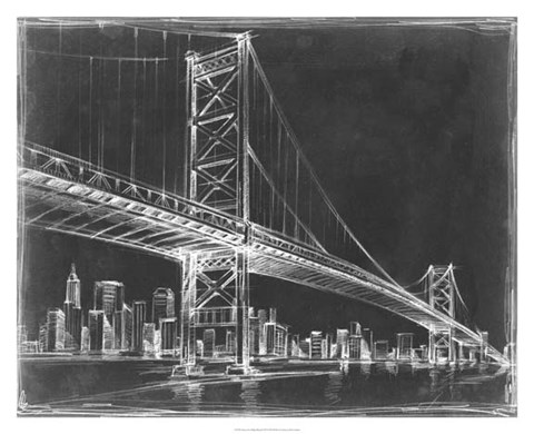 Framed Suspension Bridge Blueprint III Print