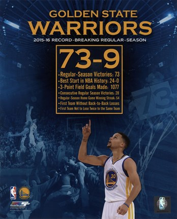 Framed Golden State Warriors record breaking regular season 73-9 Print