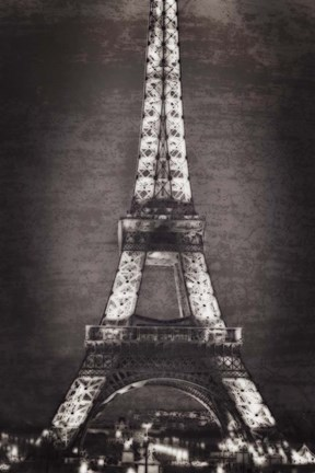 Framed Eiffel Lights B&W Print
