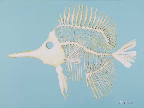 Framed Longnosed Butterfly Fish Bones Print