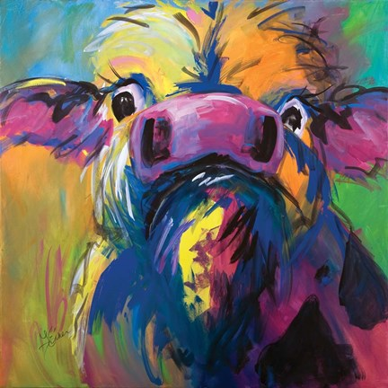 Framed Colorful Cow Print