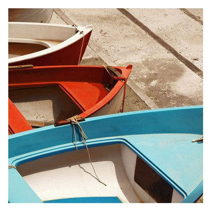 Framed Colorful Boats Print