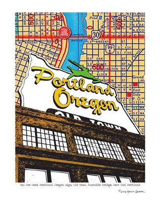 Framed Oregon Map Sign Old Town Portland Print