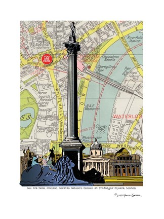 Framed Nelson's Column London Print