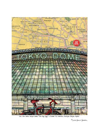 Framed Tokyo Map Dome Print