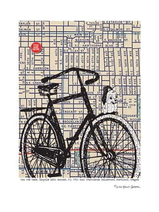 Framed Bicycle on Hawthorne Portland Print