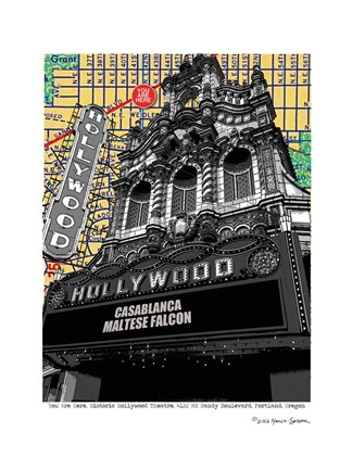 Framed Hollywood Theatre Portland Print