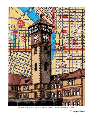 Framed Union Station Portland Print