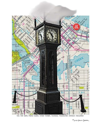 Framed Gastown Clock Vancouver BC Print